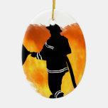 Llamas del amor de los bomberos ornamento para reyes magos