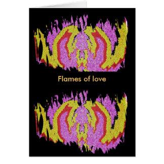Llamas del amor tarjeta de felicitación