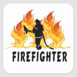 Llamas del bombero pegatina cuadrada