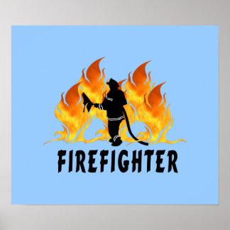 Llamas del bombero póster