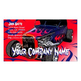 Llamas del coche de carreras plantilla de tarjeta de negocio