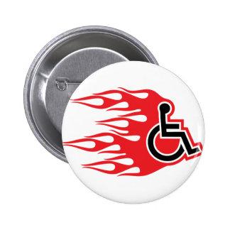 Llamas del cohete de la silla de ruedas pin redondo 5 cm