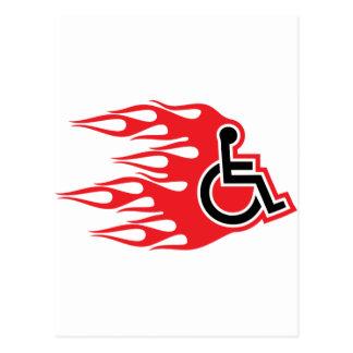 Llamas del cohete de la silla de ruedas postales