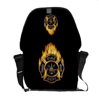 Llamas del cuerpo de bomberos bolsa de mensajeria