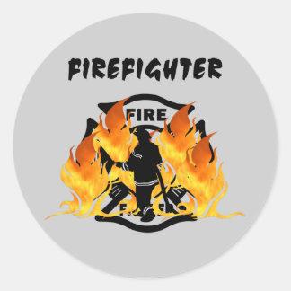 Llamas del departamento del fuego pegatina redonda