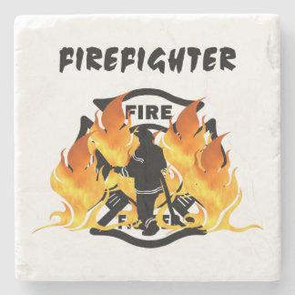 Llamas del departamento del fuego posavasos de piedra
