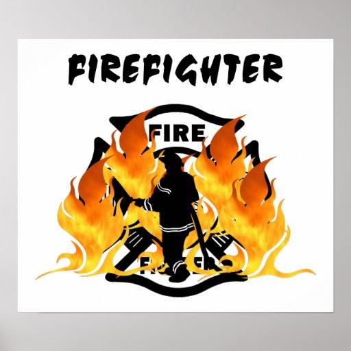 Llamas del departamento del fuego póster