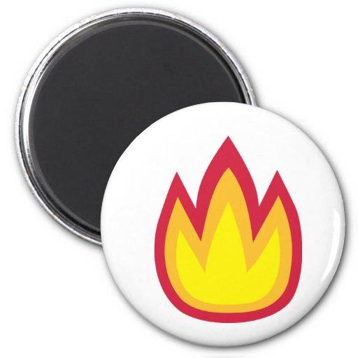 Llamas del fuego imán redondo 5 cm