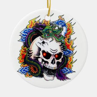 Llamas frescas del cráneo del dragón del símbolo d adorno de navidad