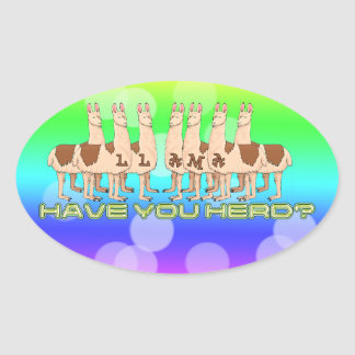 LLAMAS - HAVE YOU HERD? OVAL STICKER