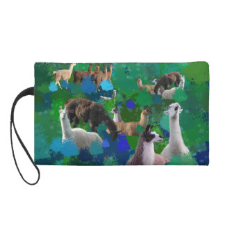 Llamas in a Llama-Forest with first snow Wristlet Purses
