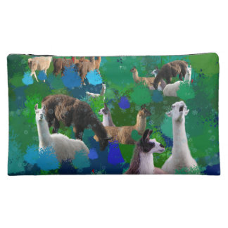 Llamas in a Llama-Forest with first snow Cosmetic Bags