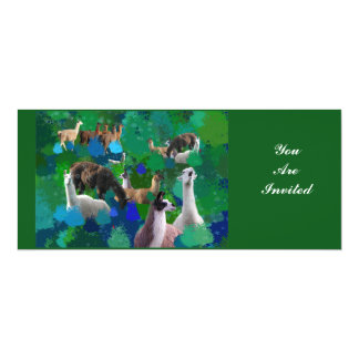 Llamas in a Llama-Forest with first snow Card