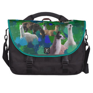 Llamas in a Llama-Forest with first snow Laptop Messenger Bag