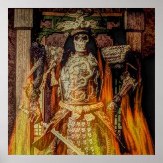 Llamas japonesas del esqueleto del guerrero del sa póster