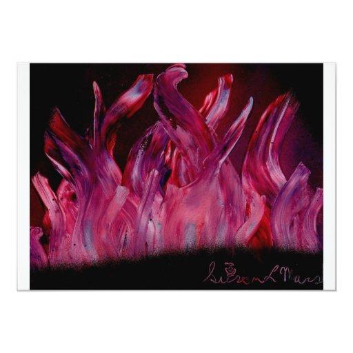 Llamas púrpuras y negras en pintura de aerosol invitación 12,7 x 17,8 cm