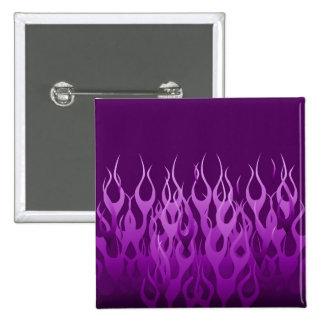 Llamas que compiten con púrpuras frescas gráficas pin cuadrado