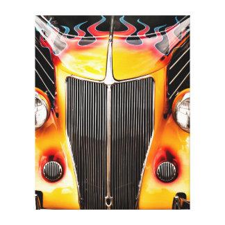 Llamas y coche de carreras del cromo lona envuelta para galerías