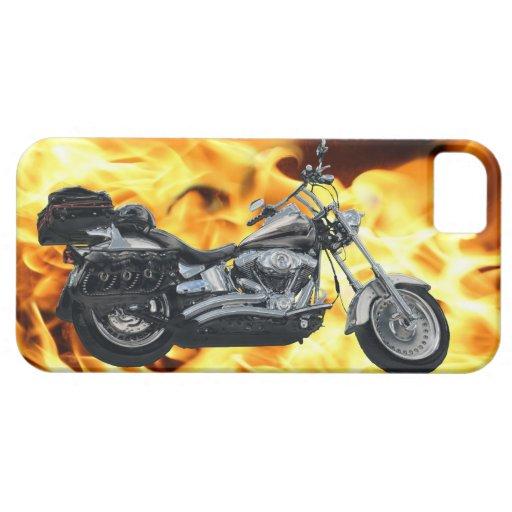 Llamas y engranaje clásico del jinete de la moto iPhone 5 carcasas
