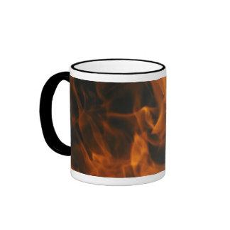 Llamas y fuego taza de dos colores