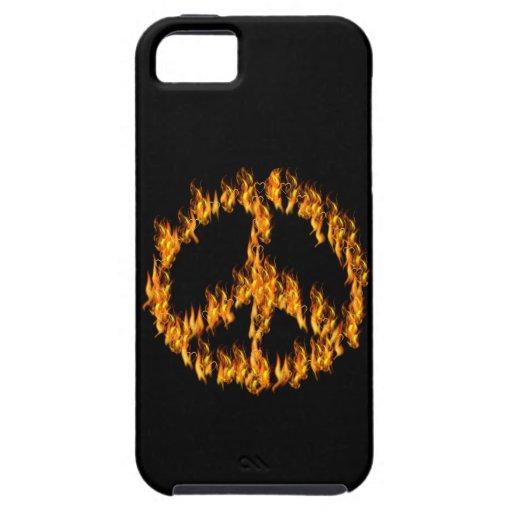 Llamas y signo de la paz de los corazones iPhone 5 carcasas