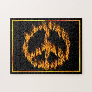 Llamas y signo de la paz de los corazones puzzle