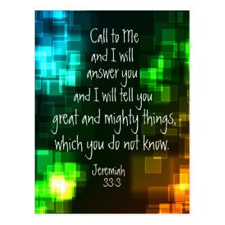Llame a mí la postal del 33:3 de Jeremiah del