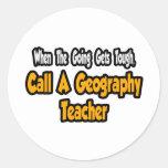 Llame a un profesor de la geografía pegatina redonda
