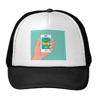 Llame un taxi en el teléfono elegante gorro