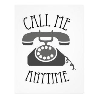Llámeme en cualquier momento plantilla de membrete
