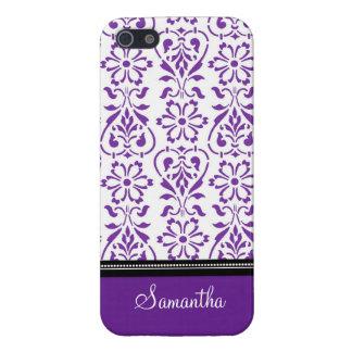 llamo por teléfono a nombre negro púrpura del pers iPhone 5 carcasas