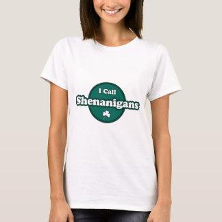 Llamo Shenanigans refrán irlandés lindo Playera
