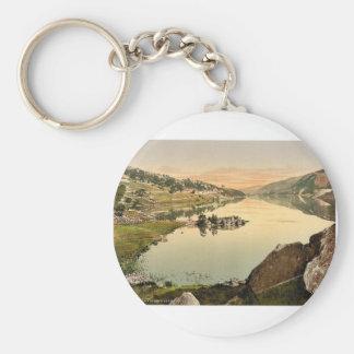 Llanberis and Lyn Peris, Wales rare Photochrom Basic Round Button Keychain