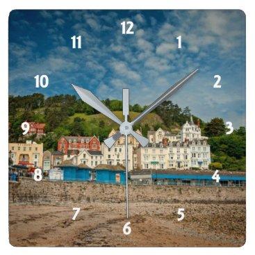 Llandudno Scenic Coastal beach view in Wales UK Square Wall Clock