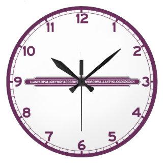 Llanfairpwll, muestra del ferrocarril, Reino Unido Reloj Redondo Grande