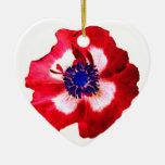 Llano azul blanco rojo del ornamento del corazón adorno de cerámica en forma de corazón