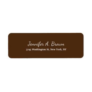 Llano creativo de la escritura del color de Brown Etiqueta De Remitente