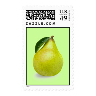 Llano de Barlett de la fruta verde de la pera y Timbres Postales