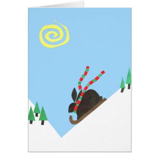 Llano del conejito del esquí tarjeta de felicitación