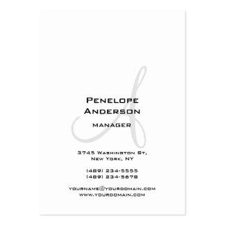 Llano gris blanco profesional del monograma tarjetas de visita grandes