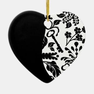 Llave a mi aniversario del corazón adorno navideño de cerámica en forma de corazón