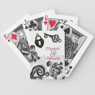 Llave a mi arte del boda del compromiso de la boda baraja cartas de poker