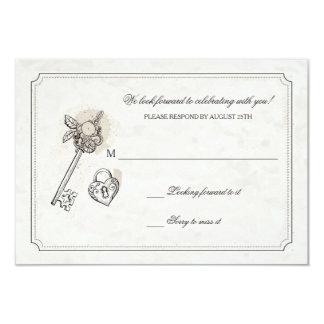 """Llave a mis tarjetas de la respuesta del corazón invitación 3.5"""" x 5"""""""