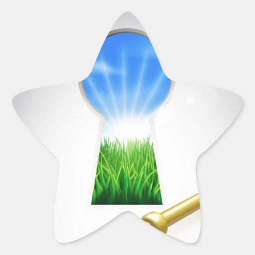 Llave al concepto de la fama pegatina forma de estrella personalizada