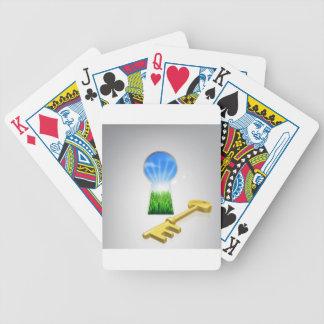 Llave al concepto de la felicidad barajas de cartas