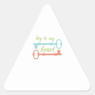 Llave al corazón pegatina triangular