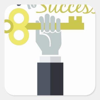 Llave al éxito pegatina cuadrada