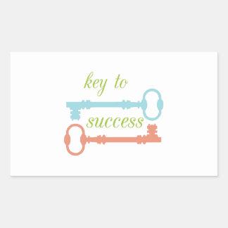 Llave al éxito pegatina rectangular