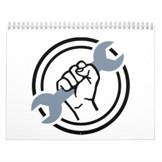 Llave de tornillo del mecánico calendario de pared