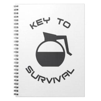 Llave del café a la supervivencia spiral notebook